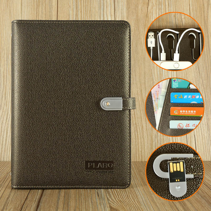 Custom Brand Size Luxury Leather USB Powerbank Notebook