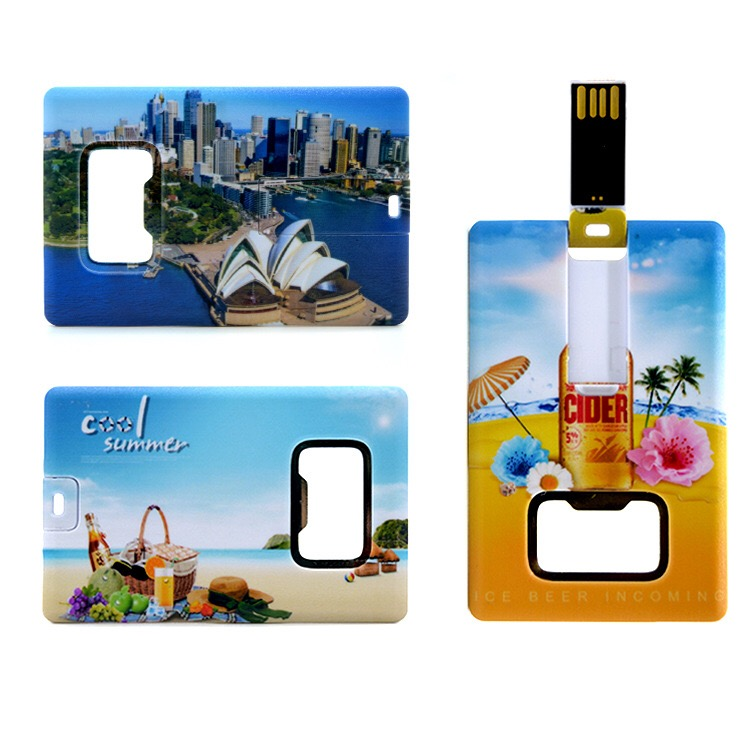 Card Shaped Wine Bottle Opener USB Flash Drive