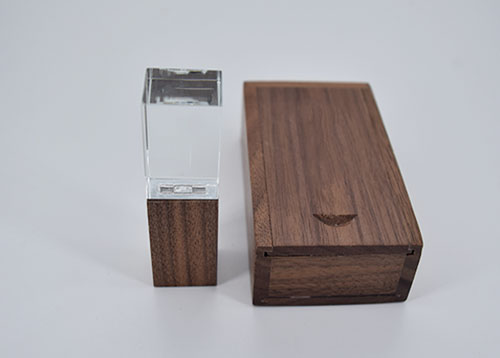 NEW OEM Custom 3D Logo Transparent Crystal Wooden USB 2.0 Memory Stick Flash Drive